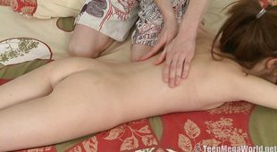 Naked brunette Juliya C got banged in a doggy style position until she cummed