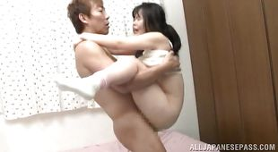 Teen asian floosy rides up prick after sucking it very well
