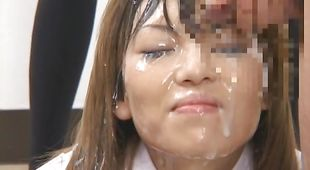 Prurient nipponese maiden gets fingered and gives head