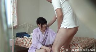 Attractive honey got a big dink up her tight honey pot until she cummed