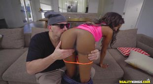 Salacious black hottie Raven Wylde likes to get fucked from the back until she cums