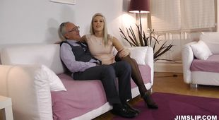 Nasty blonde honey Blanche is spreading her legs wide and getting fucked very hard